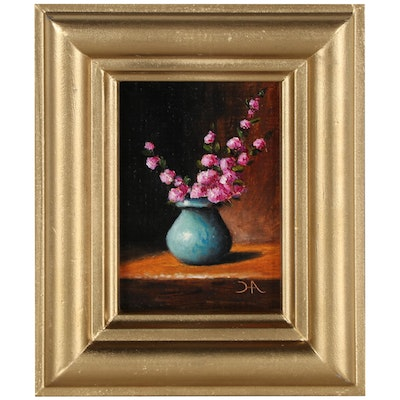 """Houra H. Alghizzi Floral Still Life Oil Painting """"Cherry Blossoms"""""""