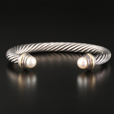 """David Yurman """"Cable Classics"""" Cuff with Pearls and 14K Accent"""