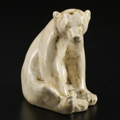"""Rookwood Pottery """"Honey Bear"""" High Gloss Paperweight After Louise Abel, 1991"""