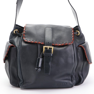 Bally Drawstring Shoulder Bag with Side Pockets in Navy and Brown Leather