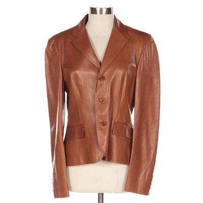 Ralph Lauren Black Label Lambskin Leather Jacket with Pick Stitch Detailing