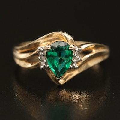 10K Emerald and Diamond Teardrop Ring