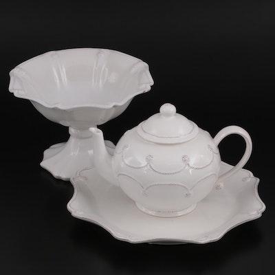 "Juliska ""Jardins du Monde"" Whitewash Porcelain Compote, Dish, and Teapot"