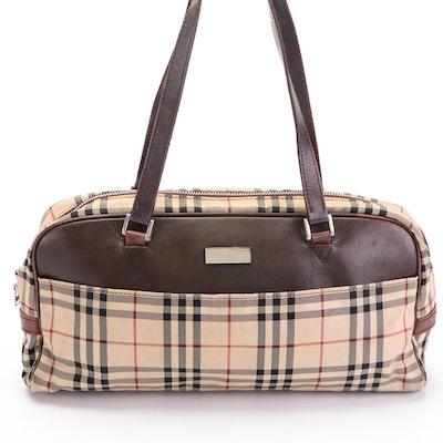 "Burberry Bowler Handbag in ""Nova Check"" Twill and Dark Brown Leather"