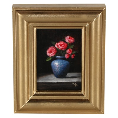 """Houra H. Alghizzi Floral Still Life Oil Painting """"Roses in Blue Vase"""""""