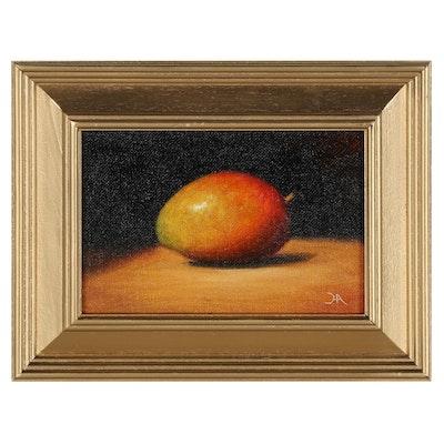 "Houra H. Alghizzi Still Life Oil Painting ""Fresh Mango"""