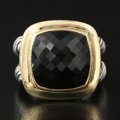 """David Yurman """"Albion"""" Sterling Silver Black Onyx Ring with 18K Bezel Accent"""