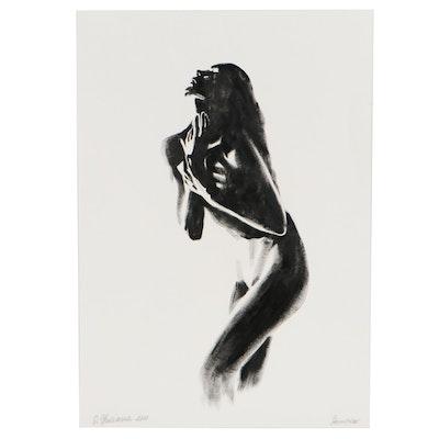 O. Yuliana Figurative Dry Brush Ink Painting of a Female Nude