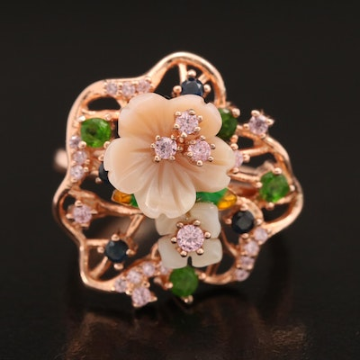Sterling Flower Ring Including Diopside, Sapphire and Mother of Pearl