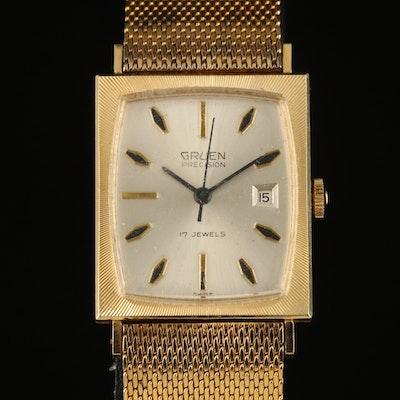 14K Gruen Precision with Date Wristwatch