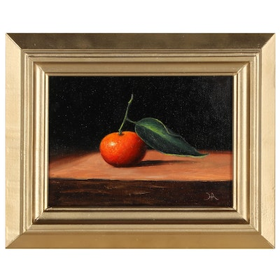 """Houra H. Alghizzi Still Life Oil Painting """"Clementine Stem,"""" 2021"""