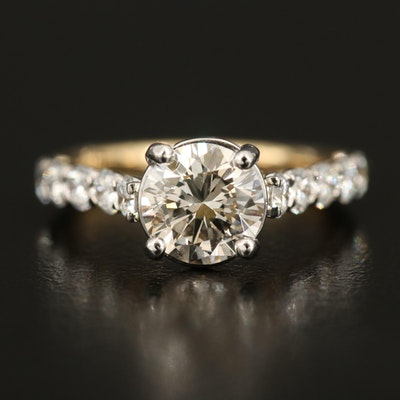 14K Diamond Ring with 1.64 CT Center Diamond