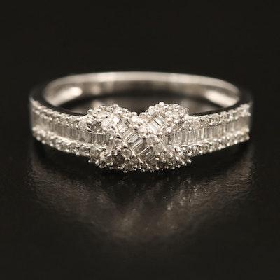 14K 0.34 CTW Diamond Crossover Ring