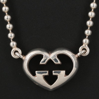 Gucci Sterling Silver Heart Necklace