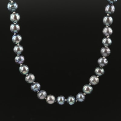 Semi-Baroque Pearl Rope Length Necklace with 14K Clasp