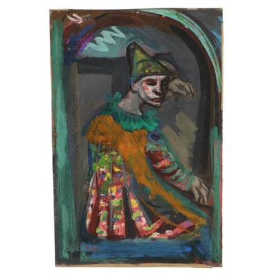Josef Presser Watercolor Painting of a Harlequin, Mid-20th Century