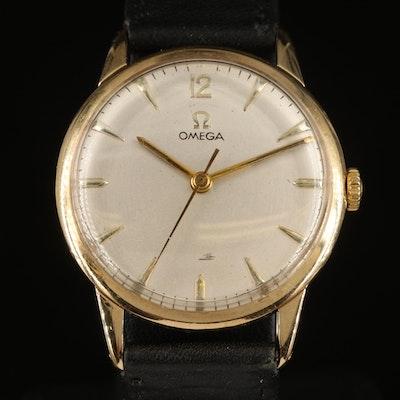 9K Omega Stem Wind Wristwatch