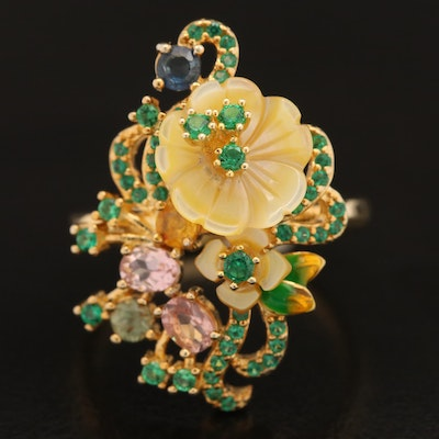Sterling Flower Ring Including Sapphire, Tourmaline and Mother of Pearl