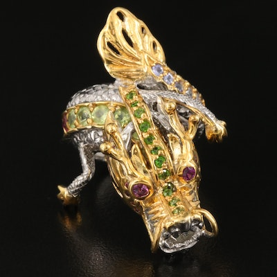 Asian Style Sterling Articulated Dragon Ring Including Peridot, Garnet and More