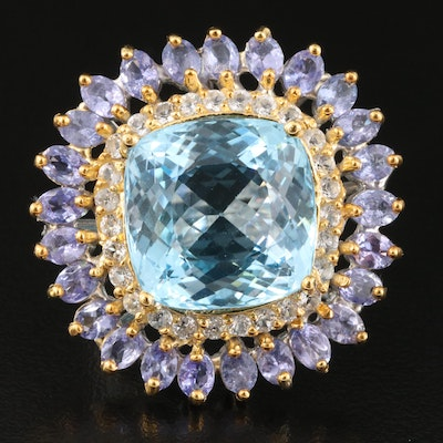Sterling Silver Tanzanite, Sky Blue and White Topaz Statement Ring