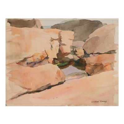 Winthrop Turney Landscape Watercolor Painting, Mid-20th Century
