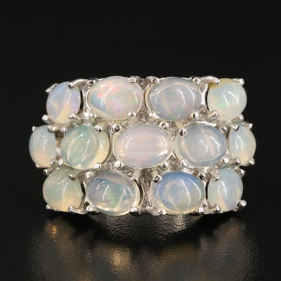 Sterling Silver and Opal Multi Row Ring