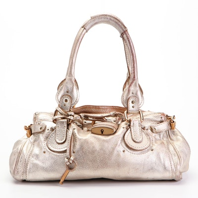 Chloé Paddington Embellished Padlock and Metallic Leather Shoulder Bag
