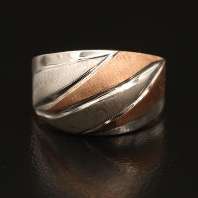 14K Two Tone Brushed Finished Dome Ring
