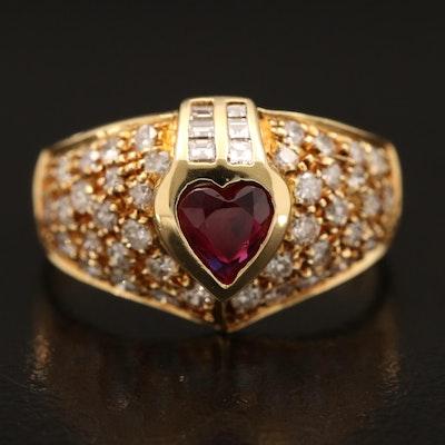 18K Ruby and Diamond Heart Ring