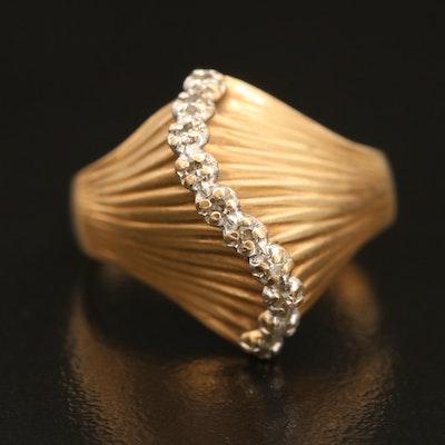10K 0.07 CTW Diamond Fluted Wave Ring