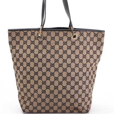 Gucci GG Canvas and Black Leather Tote Bag