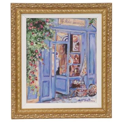 Frédéric Bonin Pissarro Oil Painting of Le Rosier Sauvage, Late 20th Century