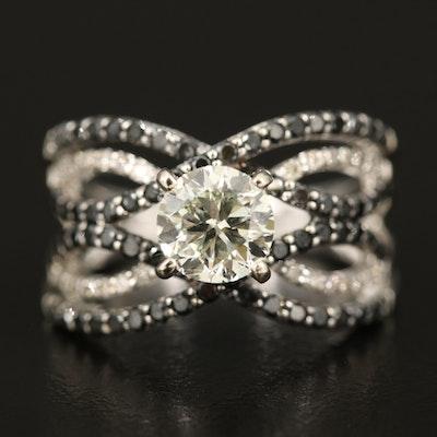 14K Diamond Criss-Cross Ring with 1.05 CT Diamond Center