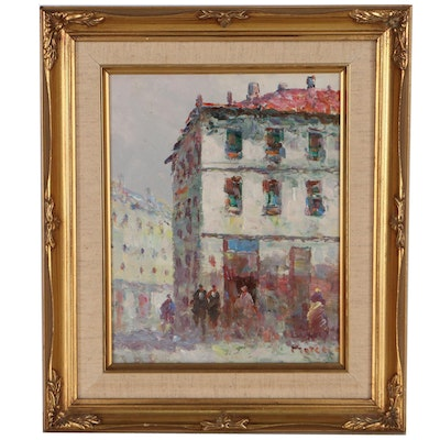 Cityscape Oil Painting of Corner Store, Late 20th Century
