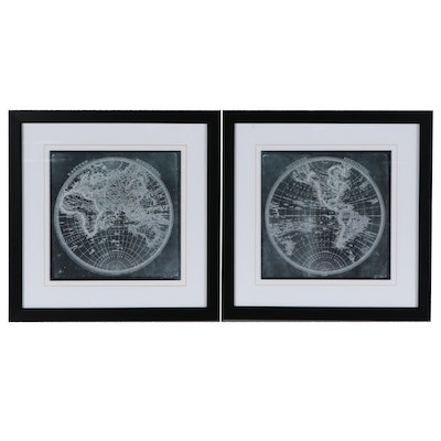 Offset Lithographs of Western and Eastern Hemispheres