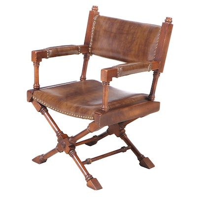 Campaign Style Maple and Faux-Leather Armchair, Mid to Late 20th Century