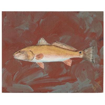 "George McElveen Acrylic Painting ""Spottail Bass,"" 2021"