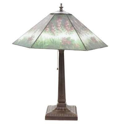Reverse-Painted Wisteria Shade Table Lamp, Mid to Late 20th Century
