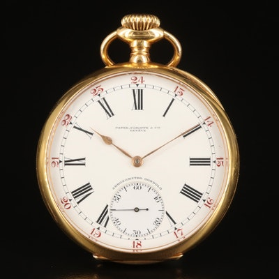 18K Patek Philippe & Cie Chronometro Gondola Pocket Watch