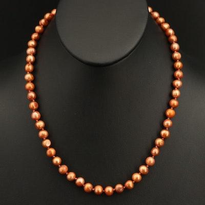 Semi-Baroque Pearl Necklace with 14K Closure