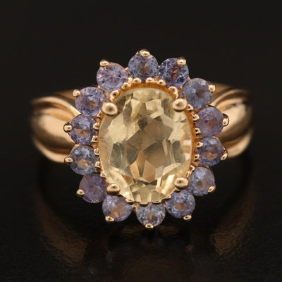14K Citrine and Tanzanite Ring