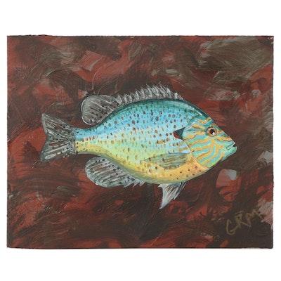 """George R. McElveen Acrylic Panting """"Pumpkinseed Sunfish,"""" 2021"""
