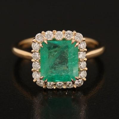 18K 3.00 CT Emerald and Diamond Ring