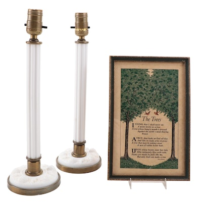 """Pair of Milk Glass Column Table Lamps with Framed Poem """"The Trees"""" Wall Hanging"""