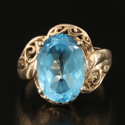 10k Swiss Blue Topaz Ring with Scrollwork Setting