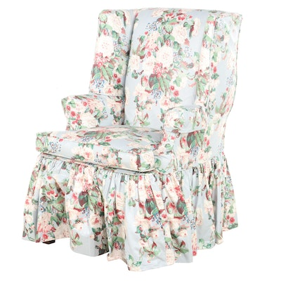 """Scalamandre """"Coronation Bouquet"""" Slip-Covered Chair, Drapery, Bed Skirt and More"""