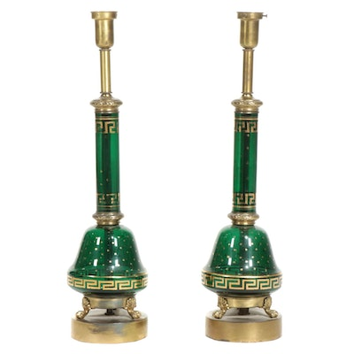Pair of French Napoleon III Style Green Glass Lamps, Converted, Early/Mid 20th C