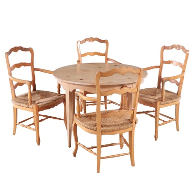 Chairmasters French Provincial Style Five-Piece Dining Set with Leaf Insert