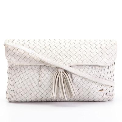 Bally International Woven Leather Tassel Flap Shoulder Bag