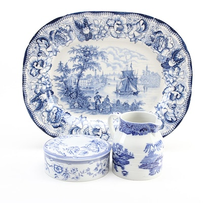 Royal Staffordshire Platter with Spode Box and Other Blue and White Transferware